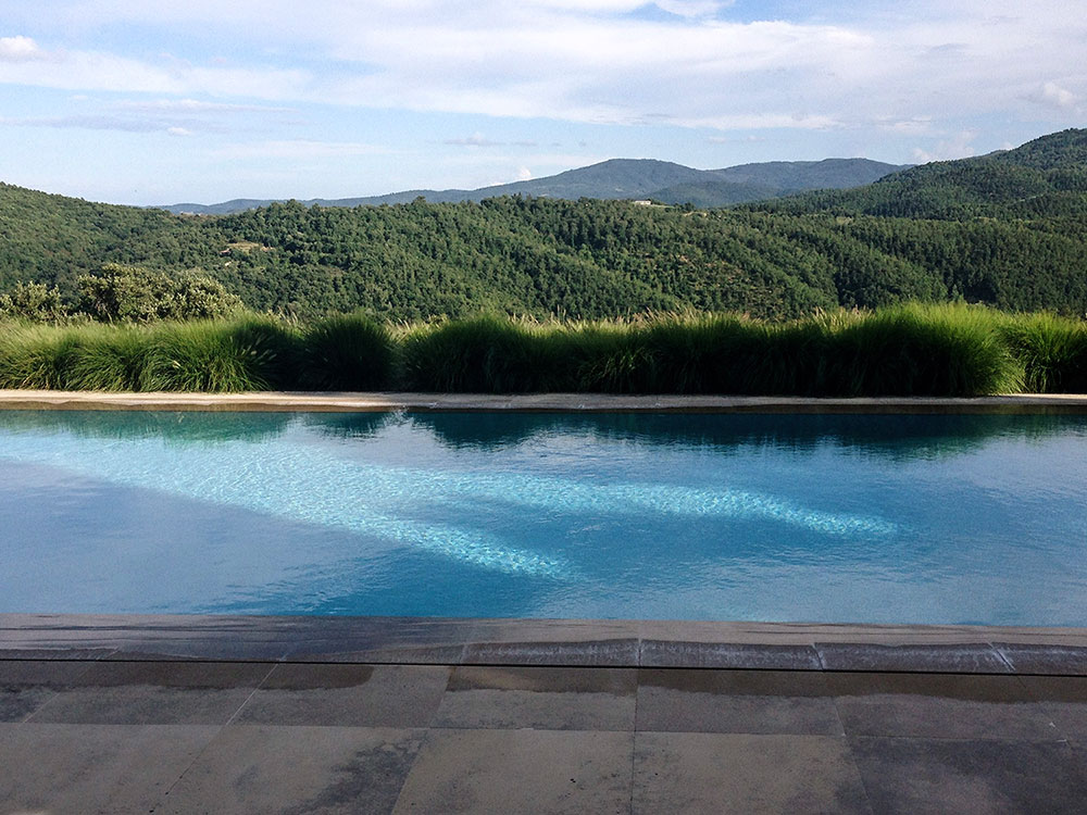Pool area designed to make the most of the view. Umbria, Italy.